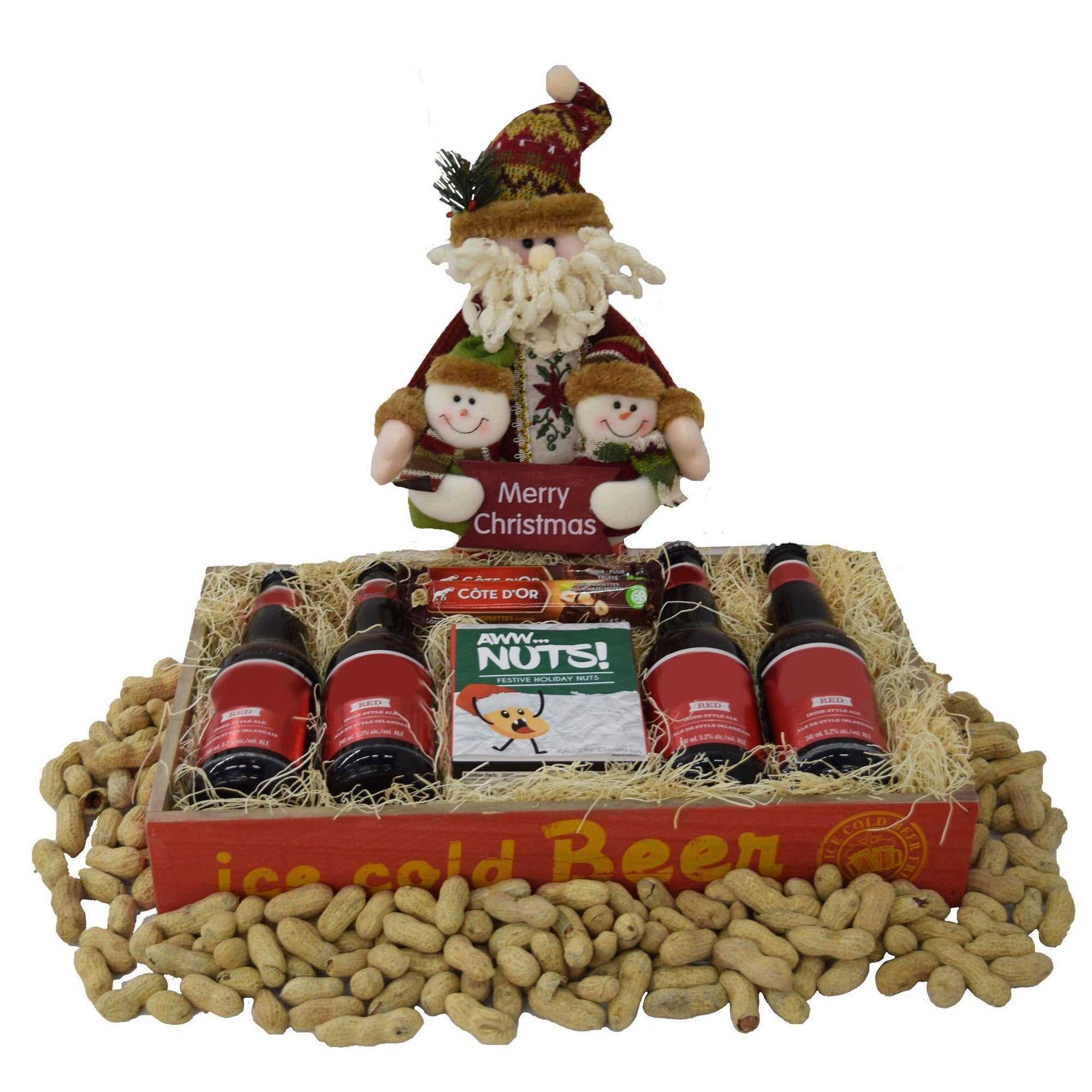 The Merry Christmas Nuts and Beer Christmas Gift basket ...