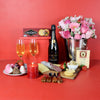 Champagne & Strawberries Gift Basket, champagne gift baskets, gourmet gift baskets, Valentine's Day gifts, gift baskets, romance