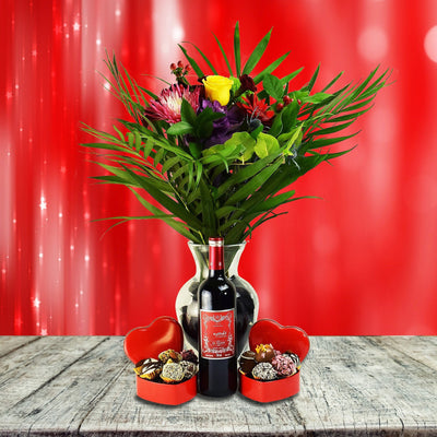 Two Hearts Gift Basket, With Wine
