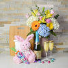 Easter Flowers & Champagne Gift Set, Easter gift baskets, champagne gift baskets, gourmet gift baskets, gift baskets, holiday gift baskets