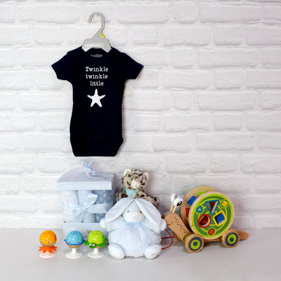 BABY BOY PLAYTIME BASKET, baby boy gift hamper, newborns, new parents
