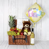 Teddy, Baby & Mom Gift Basket with Wine