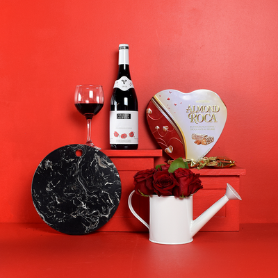 Romantic Red Wine, Roses & Chocolates