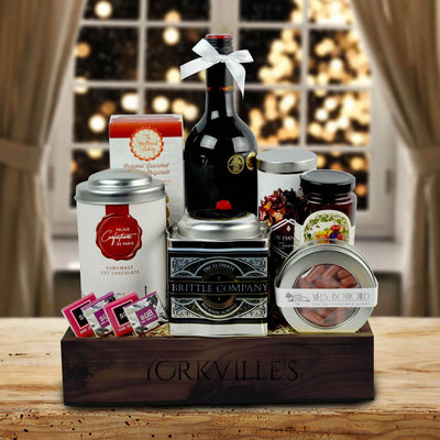 The Dreamy Comforts Wine and Sweets Gift Basket