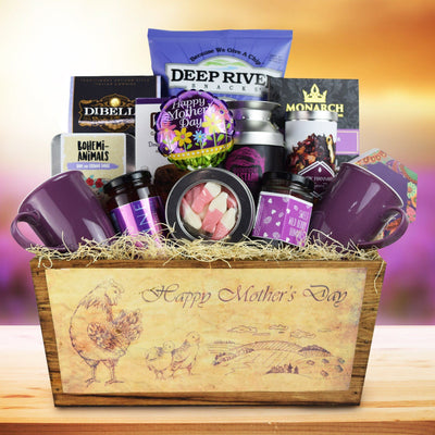 mother's day gift baskets canada. This Mother's Day themed gift basket is beautifully arranged as our basket makers include an array of appetizing snacks and beverages which are specially made for your beloved mom for this occasion.