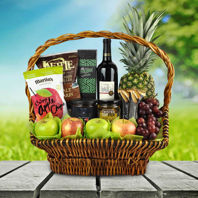 Kosher Fruit and Wine Gift Basket
