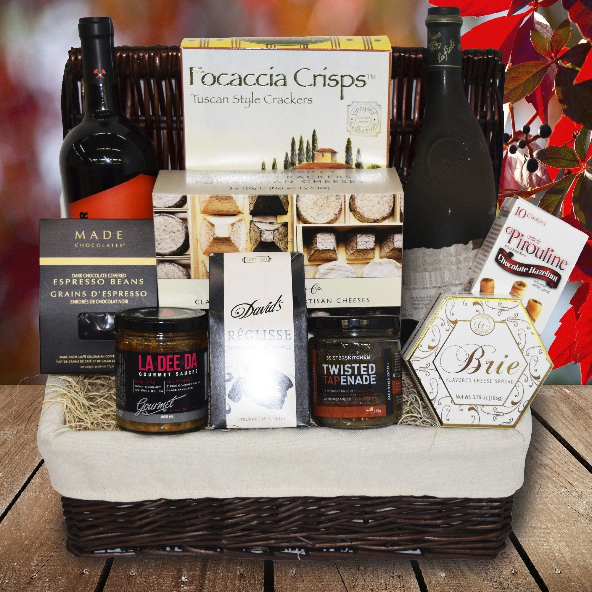 this basket includes wine and gourmet food . send this basket anywhere in canada · Online Gifts Canada