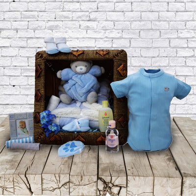 This baby boy gift basket has collection of products.