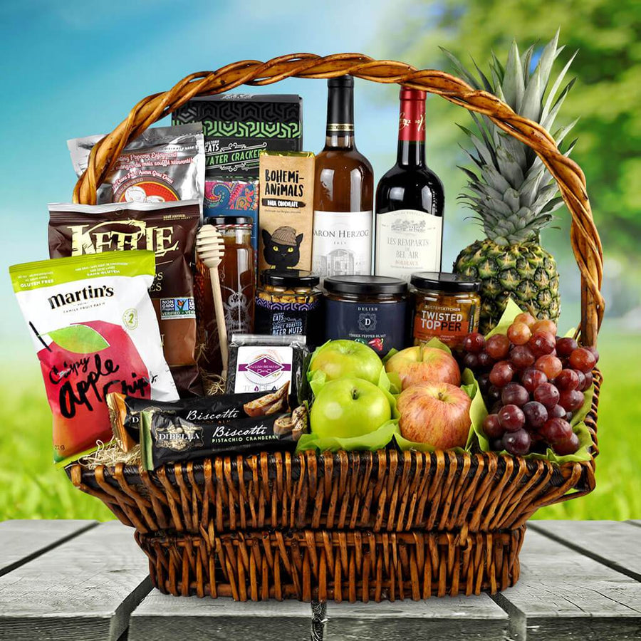 Kosher Wine And Fruit Gift Basket