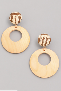 Circle Wood Dangle Earrings