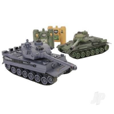 1:28 2.4 GHz Battle Tanks RTR 1 x Russian T-34 & 1 x German Tiger