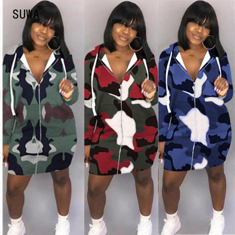 Women Casual Hoodies Dress Front Zipper Long Sleeve
