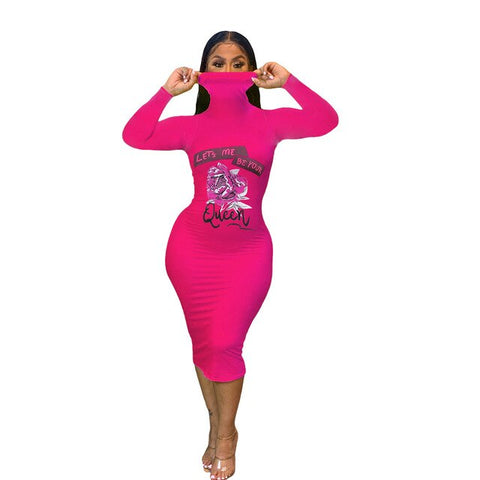 Turtle neck Women Dress Long Sleeve