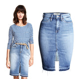 Vintage washed denim women jeans skirts - armazonee Store