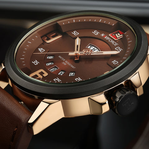 Luxury Sports Military Leather Quartz Men watch - armazonee Store