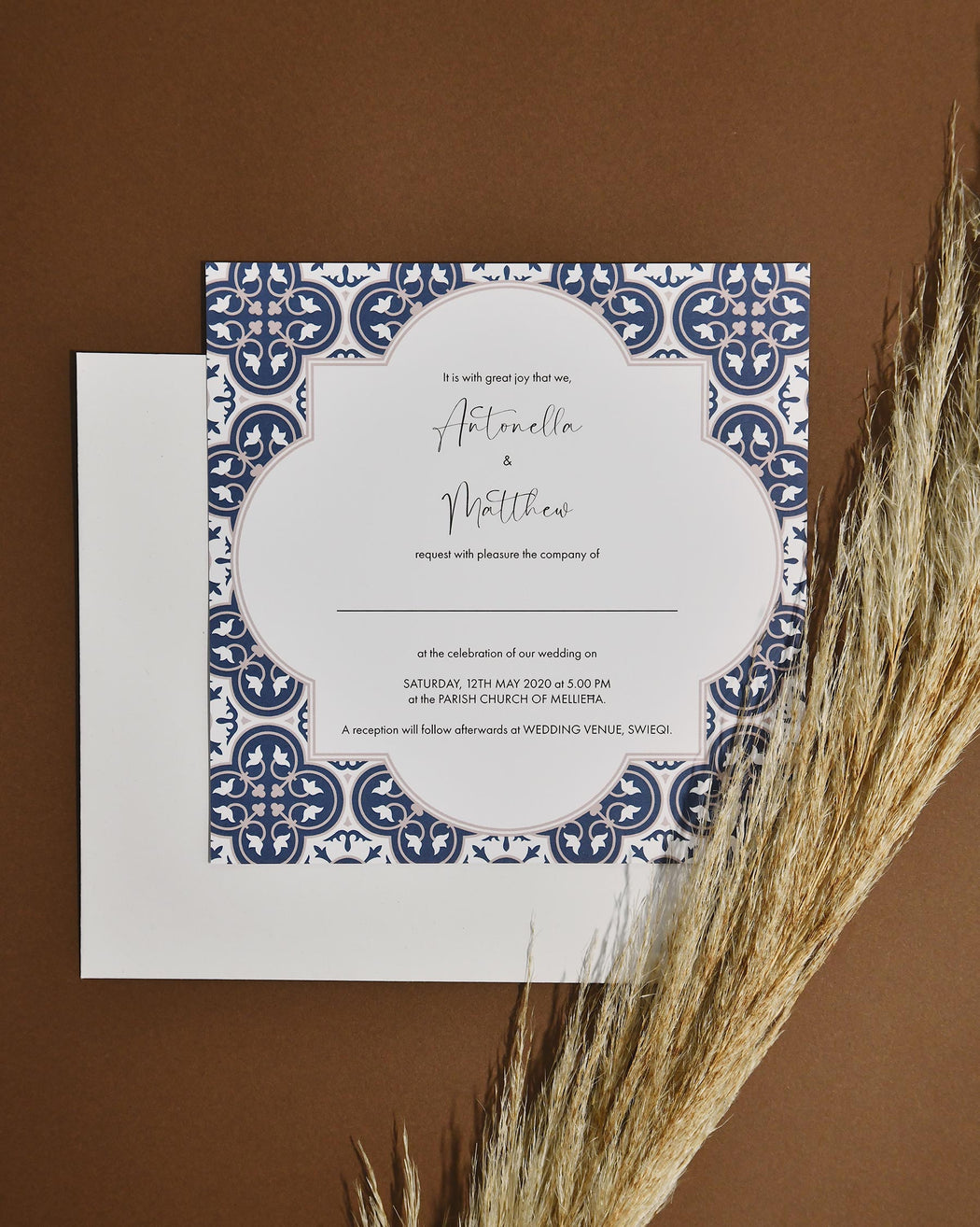 Wedding Invitations - Old Rose & Navy Blue
