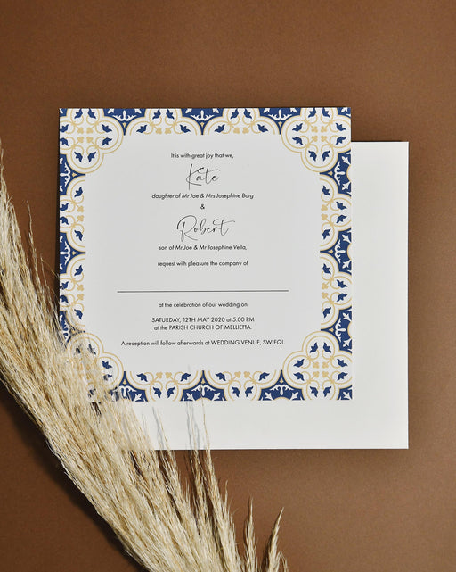 Wedding Invitations - Gold & Navy Blue