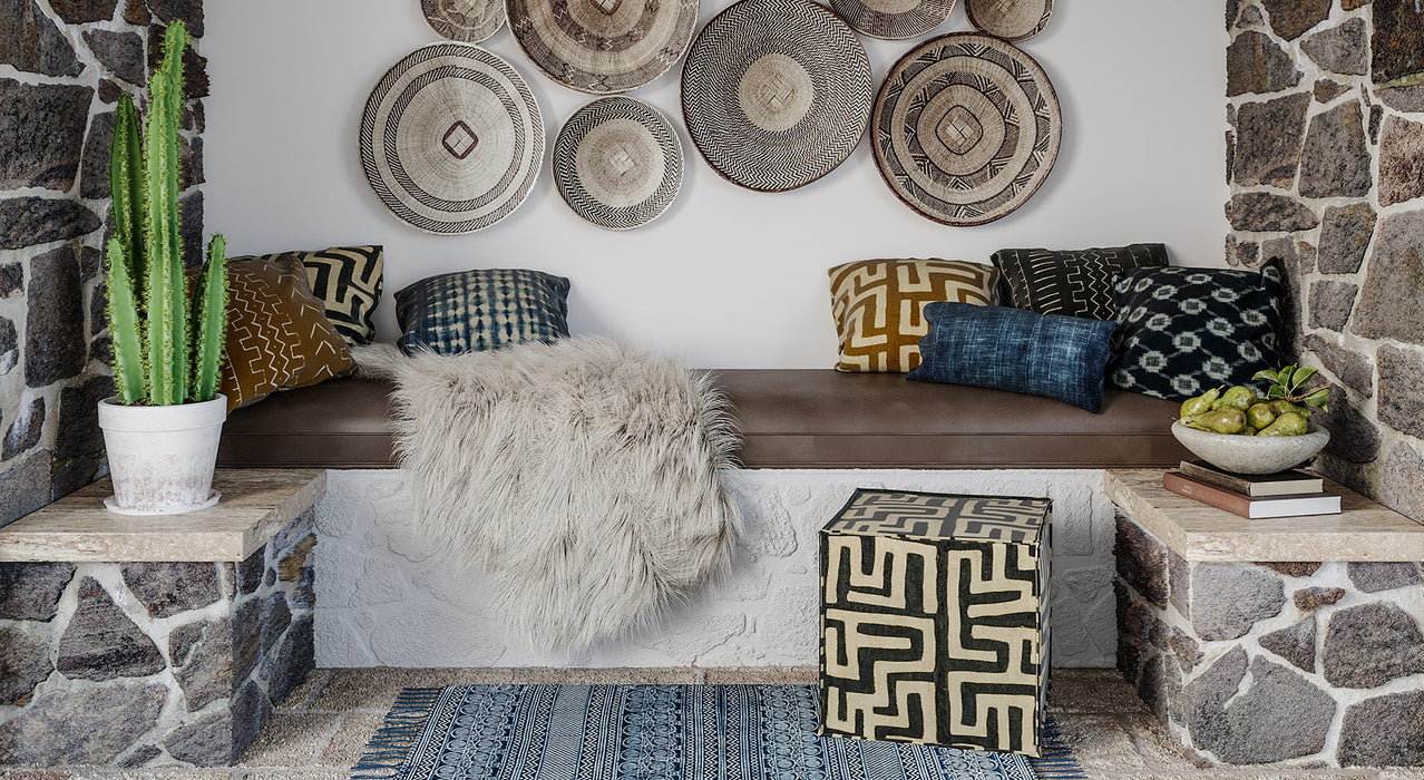 A mix of shibori, mud, and kuba cloth-inspired prints...