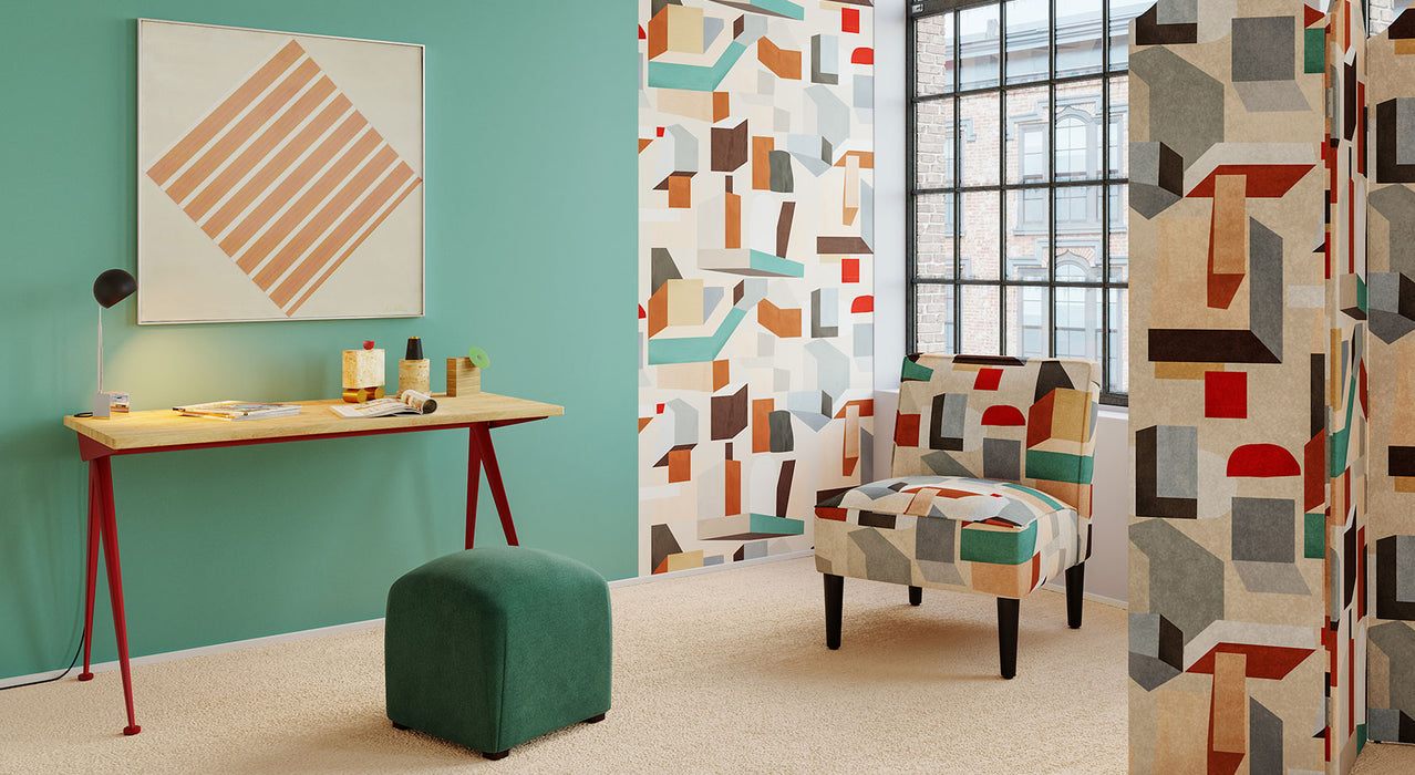 Inspired by the irreverent eighties, the Postmodern Moment collection features our limited edition Melio pattern--a bold geometric landscape and ode to color pops.
