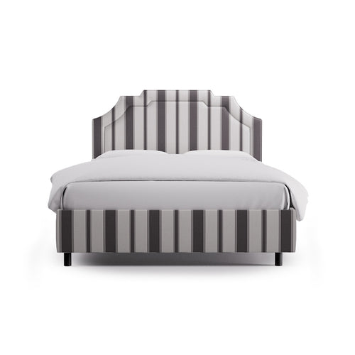 Art Deco Bed -  Charcoal Clarence Stripe