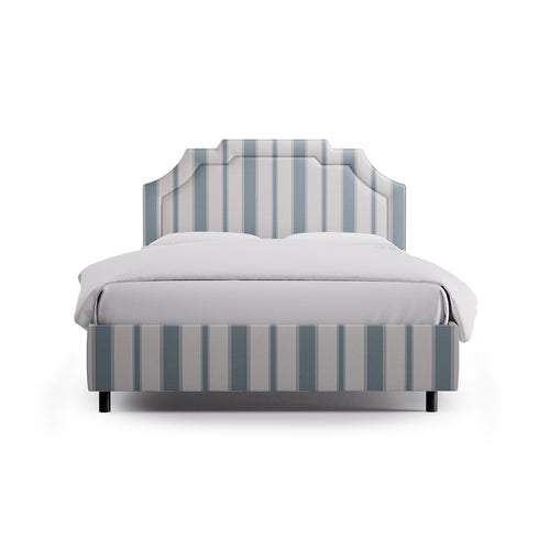 Art Deco Bed -  French Blue Clarence Stripe