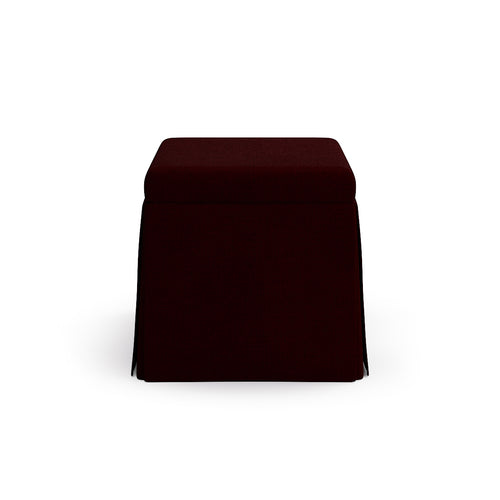 Skirted Storage Ottoman -  Bordeaux Linen