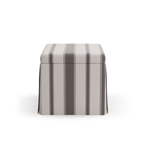 Skirted Storage Ottoman -  Charcoal Clarence Stripe