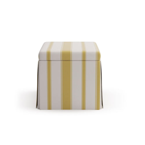 Skirted Storage Ottoman -  Citrine Clarence Stripe
