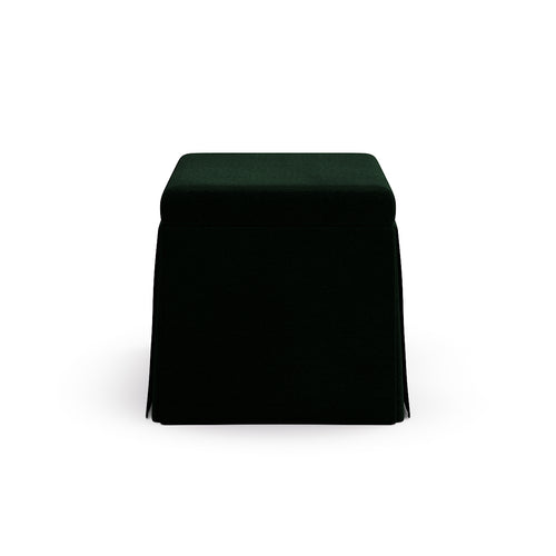 Skirted Storage Ottoman -  Emerald Velvet