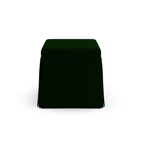 Skirted Storage Ottoman -  Emerald