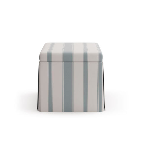 Skirted Storage Ottoman -  French Blue Clarence Stripe