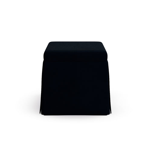Skirted Storage Ottoman -  Navy Linen