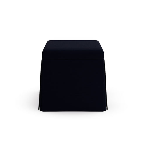Skirted Storage Ottoman -  Navy