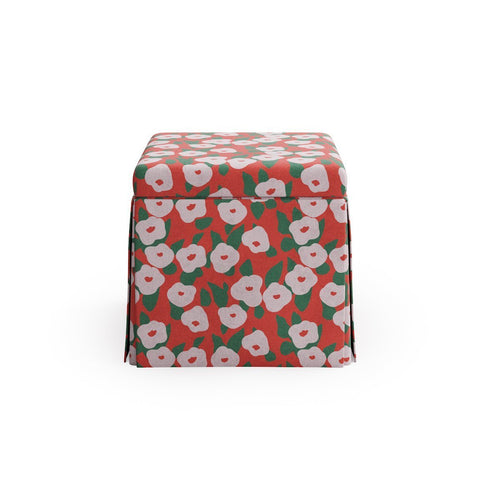 Skirted Storage Ottoman -  Red Belle Du Jour By Clare