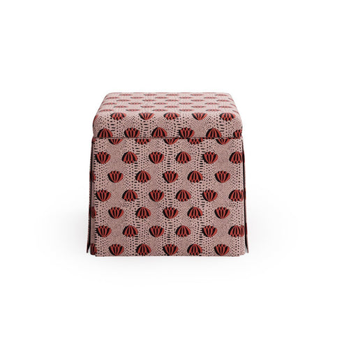 Skirted Storage Ottoman -  Red Lotus By Clare
