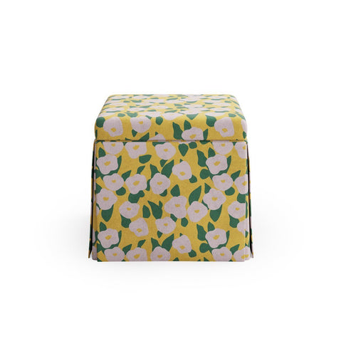 Skirted Storage Ottoman -  Yellow Belle Du Jour By Clare