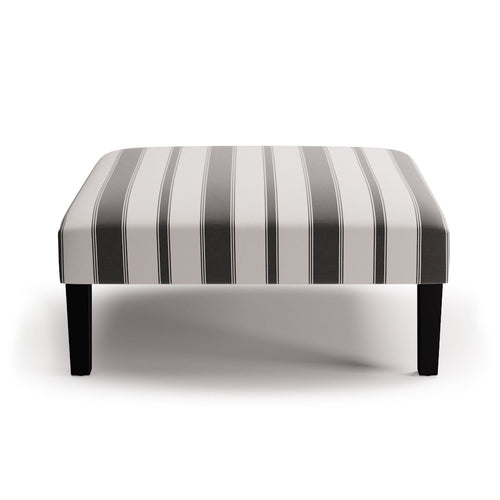 Cocktail Ottoman -  Ink Clarence Stripe