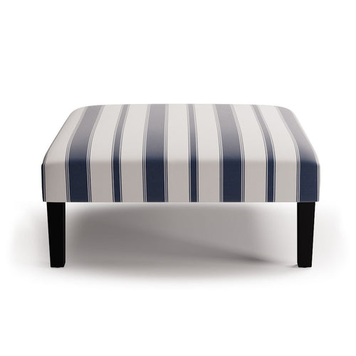 Cocktail Ottoman -  Navy Clarence Stripe