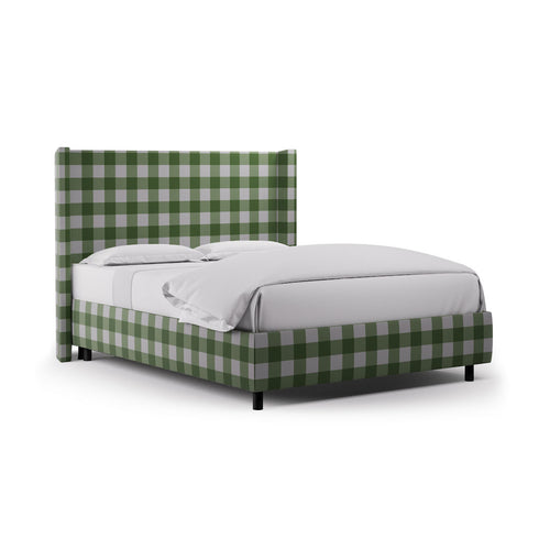 Modern Wingback Bed -  Mint Check