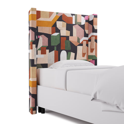 Modern Wingback Headboard -  Ink Melio