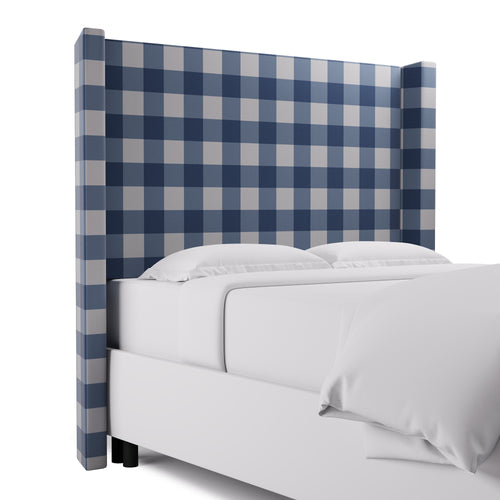 Modern Wingback Headboard -  French Blue Check