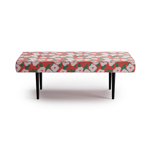 Mid-Century Bench -  Red Belle Du Jour By Clare