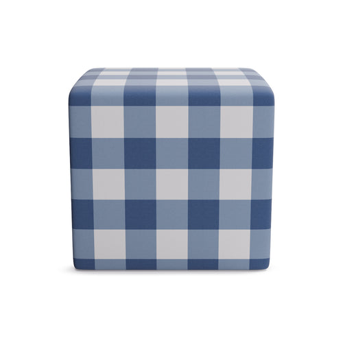 Cube Ottoman -  French Blue Check