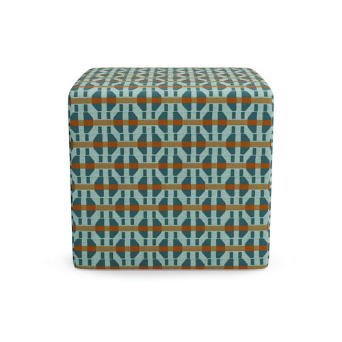 Cube Ottoman -  Teal Spice Corsica By Christene Barberich