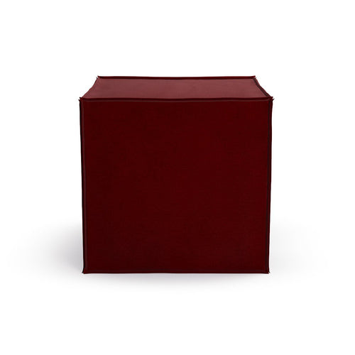 Square Pouf -  Bordeaux Velvet