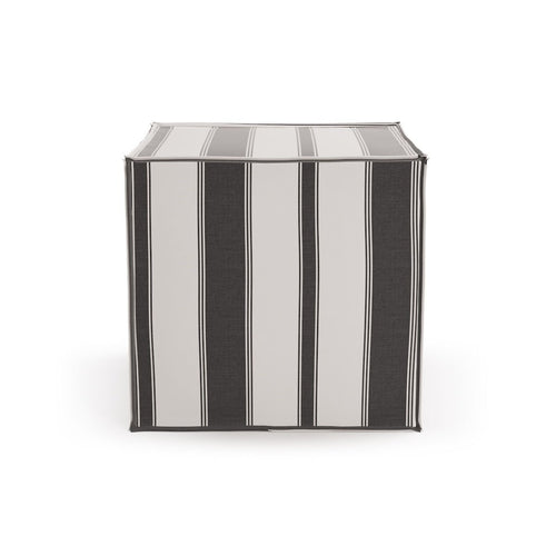 Square Pouf -  Ink Clarence Stripe