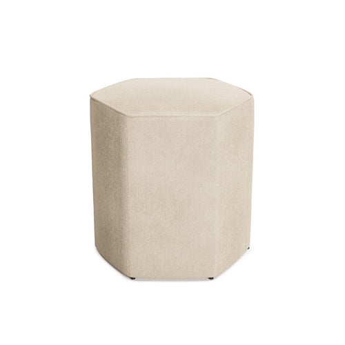 Hexagonal Ottoman -  Antique White Velvet
