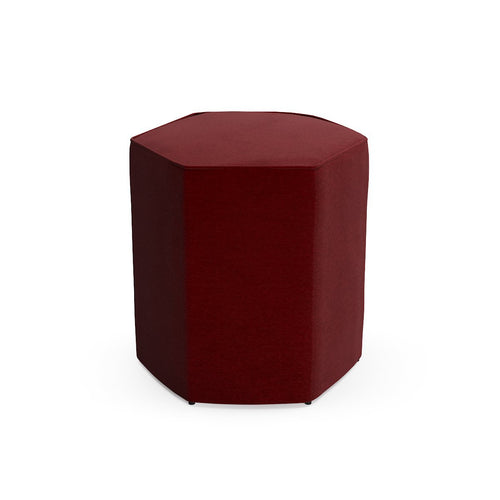 Hexagonal Ottoman -  Bordeaux Velvet