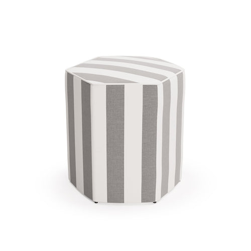 Hexagonal Ottoman -  Charcoal Cabana Stripe