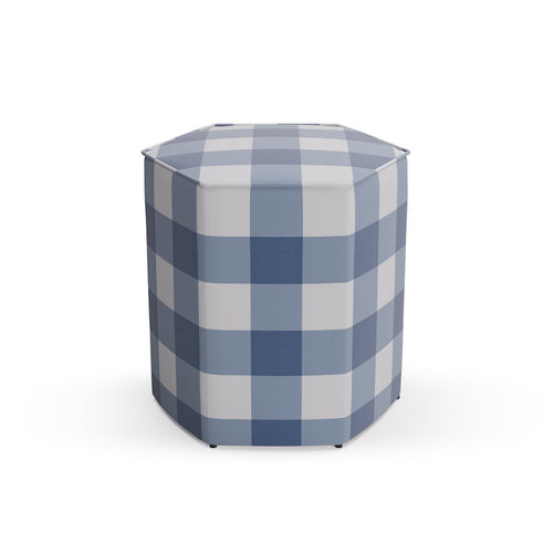 Hexagonal Ottoman -  French Blue Check
